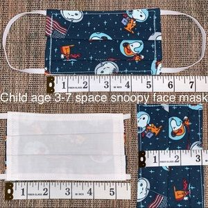 LAST MASK!! Child space snoopy fabric face mask